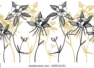 Double Columbine flowers. Collection of hand drawn flowers and plants. Botany. Set. Vintage flowers. Black and white illustration in the style of engravings