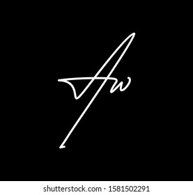 Double Cursive Letters Initial AW Signature Handwriting Calligraphy