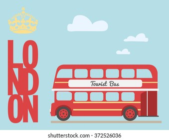 Double decker bus cartoon from England / British tourist symbol /
