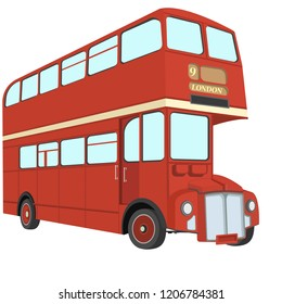 Double decker bus from England. Website, icon, postcards, place for text.