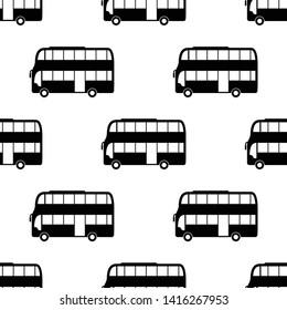 Double Decker Bus Icon Seamless Pattern, Bus Vector Art Illustration
