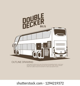Double decker bus outline drawing vector illustration