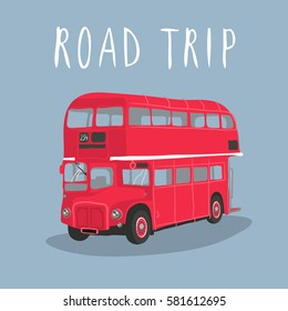 Double decker red bus vector illustration. City public transport service vehicle retro-bus isolated on blue background. Routemaster