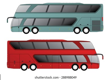 Double decker tourist bus design with double axle in front and rear