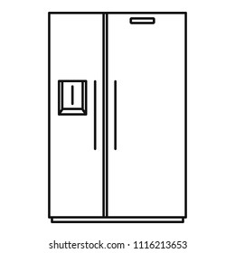 Double door fridge icon. Outline illustration of double door fridge vector icon for web design isolated on white background