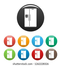 Double door fridge icons set 9 color vector isolated on white for any design
