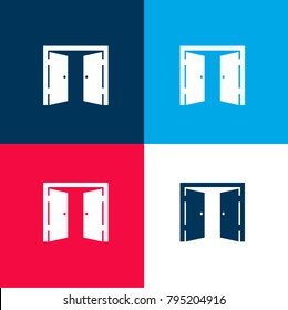 Double door opened four color material and minimal icon logo set in red and blue