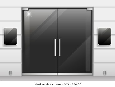 Double doors of black glass entrance to the store or office. Vector graphics