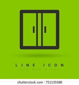 Double doors minimal icon. Closet line vector icon for websites and mobile minimalistic flat design.