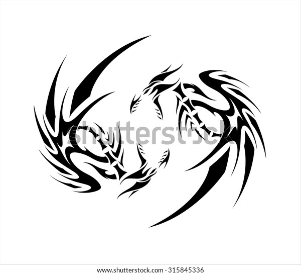 Double Dragon Stock Vector Royalty Free 315845336