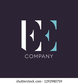 Double E letter logo design. EE