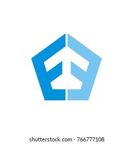 double E or E E letter pentagon vector logo