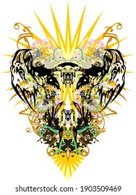 Double eagle head symbol with colored and golden splashes. Double eagle symbol against the sun with colored decorative elements for prints, textiles, posters, wallpaper, tattoo, etc.