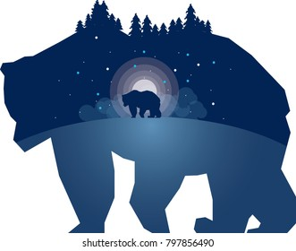 Double exposure bear illustration