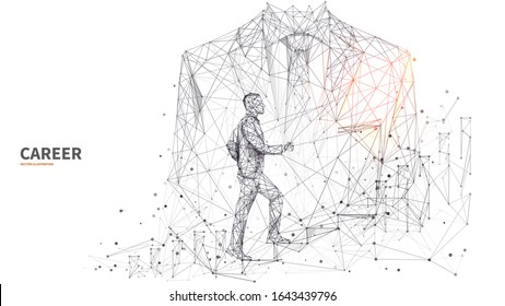Double exposure of closeup young businessman in classic suit with businessman climbing stairs. Abstract low poly wireframe vector illustration. Isolated career growth concept on white background.
