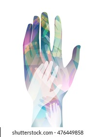 Double Exposure Illustration of Hands Joined Together - eps10