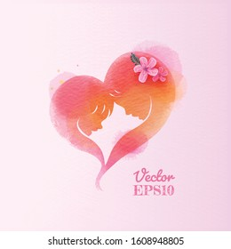 Double exposure illustration. Side view of Happy mom with daughter in heart shaped silhouette plus abstract water color painted. Mother's day. Digital art painting. Vector illustration