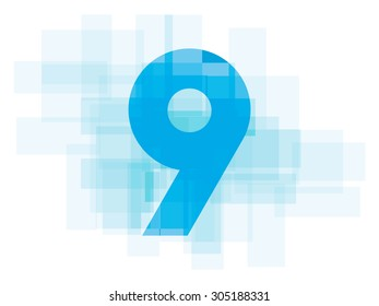 Double exposure number 9 on white background.Vector illustration. Blue color double exposure number. nine 9