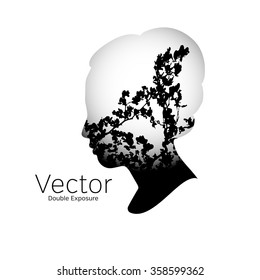 Double exposure portrait of a woman and leaves in black and white tone vector illustrator