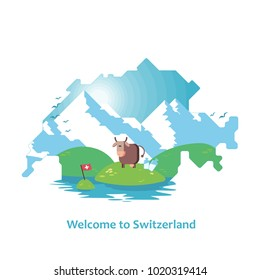 Double exposure, silhouette of a map of Switzerland with the Alps, meadow, cow and milk. On white background