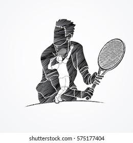 Double exposure, Tennis player sports man designed using black grunge brush graphic vector.