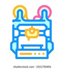 double extruder 3d printer color icon vector. double extruder 3d printer sign. isolated symbol illustration