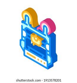 double extruder 3d printer isometric icon vector. double extruder 3d printer sign. isolated symbol illustration