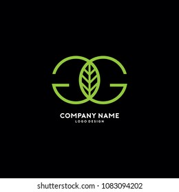 Double G Letter With Leaf Symbol Logo Template