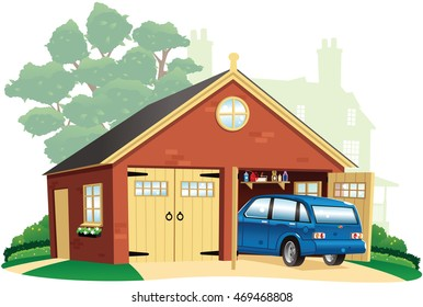 Double garage and automobile.