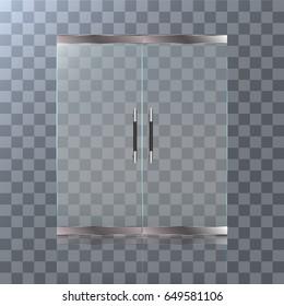 ショッピングセンターまたはオフィスのドア(ガラス製)。透明効果を持つベクター画像