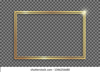 Double golden frame with shadows and highlights isolated on a transparent background. Eps 10