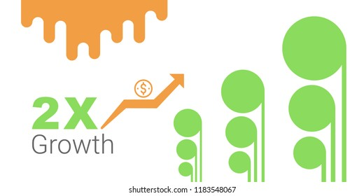 double growth, extra income, more earning, fast grow business, make money, editable vector illustration  design for web banner.