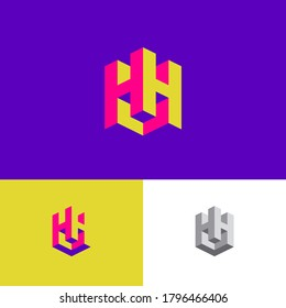 Double H letters as a cube. H and H logo. Construction emblem. 3D monogram. Abstract volume logo. Building or construction logo.