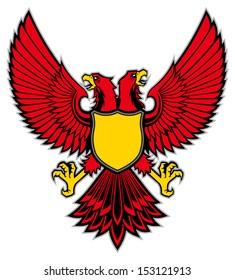 double head bird mascot spread the wing