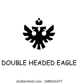 Double headed eagle flat vector icon. Hand drawn style design illustrations.
