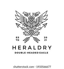 double headed eagle heraldry heraldic monoline t shirt logo vector icon illustration