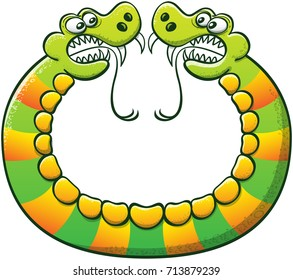 Double headed snake with sharp fangs, long forked tongues and yellow stripes while forming a circle with its body and confronting its two sides in an aggressive way