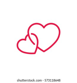 double hearts thin line red icon on white background, happy valentine day