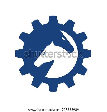 Double Horse Power Tech Mechanical Logo Stock Vector Royalty Free