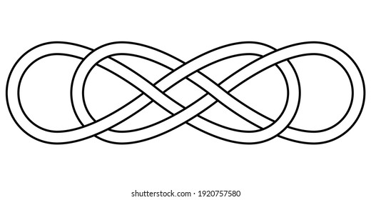 Double knot infinity sign, vector double infinity logo tattoo