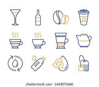 Double latte, Takeaway coffee and Coffee beans icons simple set. Wine, Espresso and Refill water signs. Cafe creme, Water bottle and Milk jug symbols. Martini glass, Tea bag. Line double latte icon