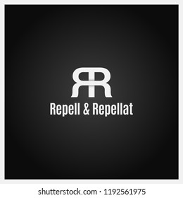double letter R logo icon with two white R on black background
