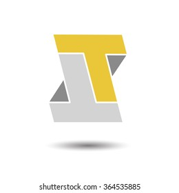 Double letter T icon for corporate identity, element for sign and logo