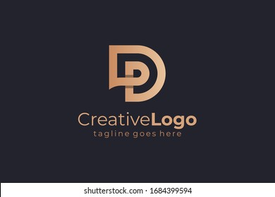 Double Line Abstract Initial Letter D and P Linked Logo. Flat Vector Logo Design Template Element