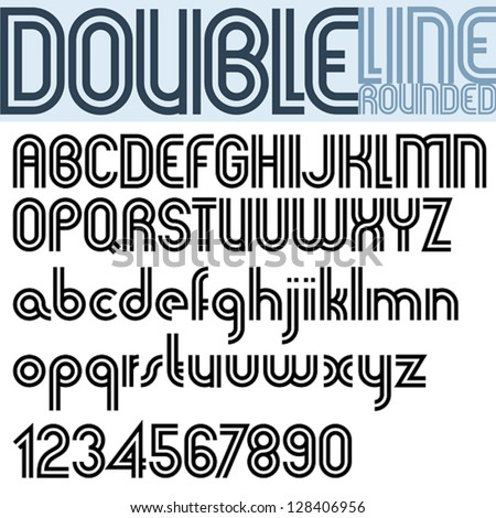 Double Line Retro Style Geometric Font Stock Vector Royalty Free
