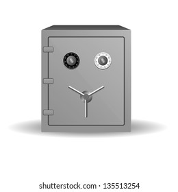 Double lock safe icon isolated on white background, vector illustration