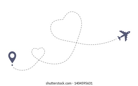 Double love airplane route. Romantic travel simbol, heart dashed line trace. Simple hearted airplane path, flight air dotted love valentine day drawing isolated vector.