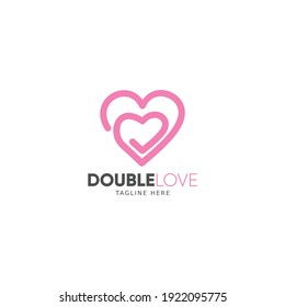 Double love logo premium template for your romantic brand or company