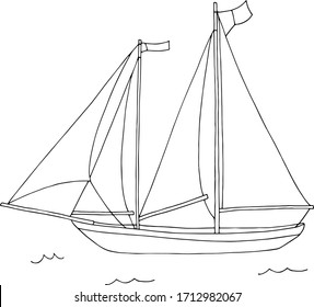 Double mast yacht with sails at sea coloring. Black and white vector hand draw illustration EPS10