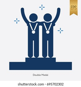 Double Medal Icon and Championship Symbol Flat Isolated